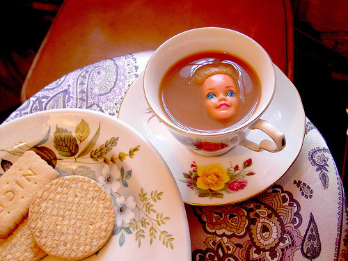 Happy to be home with clean sheets on my bed and barbie in my tea cup…