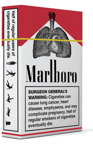 Marlboro smokes just aint kidding – thats a tombstone on the box!