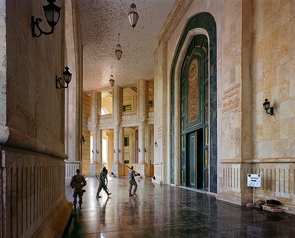 American troops camped out in Saddam's palaces.