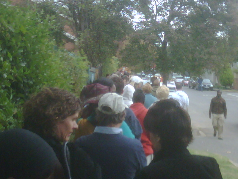 Standing in a mother of a Q waiting to vote AND its cold.