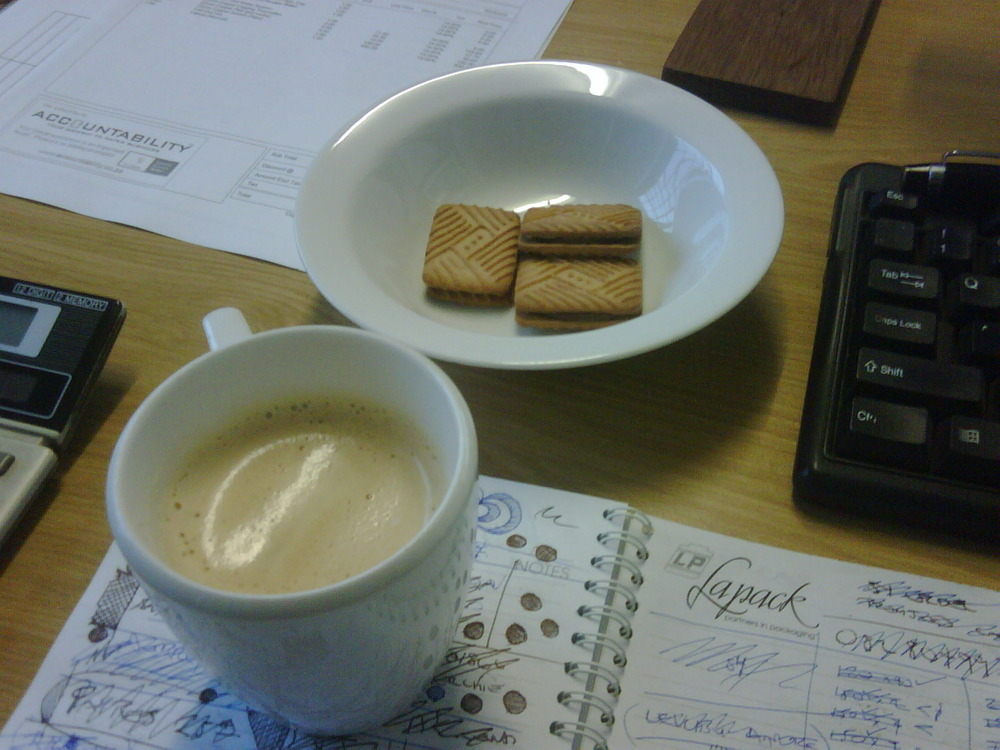 Cappuccino and biscuits brought to my desk at 645am by my coffee bitch! FTW