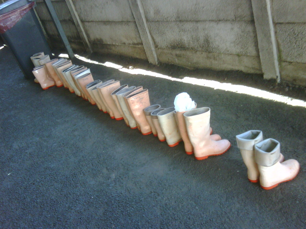 Counting the boots of staff deceased.