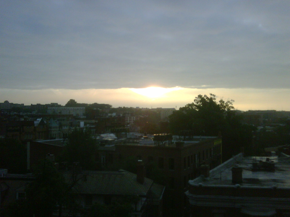 Watching the sunrise below the clouds from the 4th floor window…