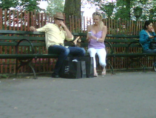 Heather Locklear and I sitting in central park while she reads my blog on her i-phone..