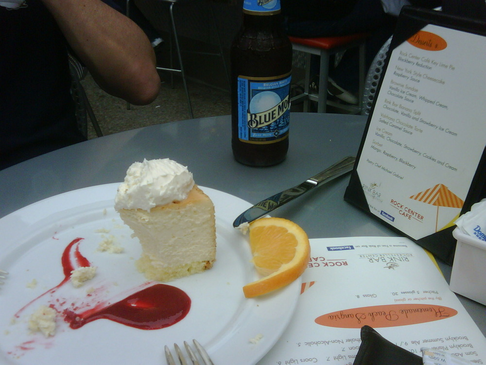 Enjoying beer n cheese cake at Rockerfeller, after choc brownies for breakfast and to be followed by more chocolate brownies and beer. *burp!*