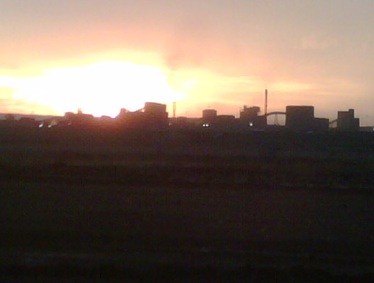 Nothing as romantic as an african sunset over a steel factory with a massive plume of smoke bellowing out over the plains…