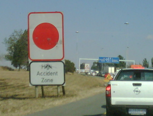 "Who would have guessed- an accident in the "" high accident zone"""