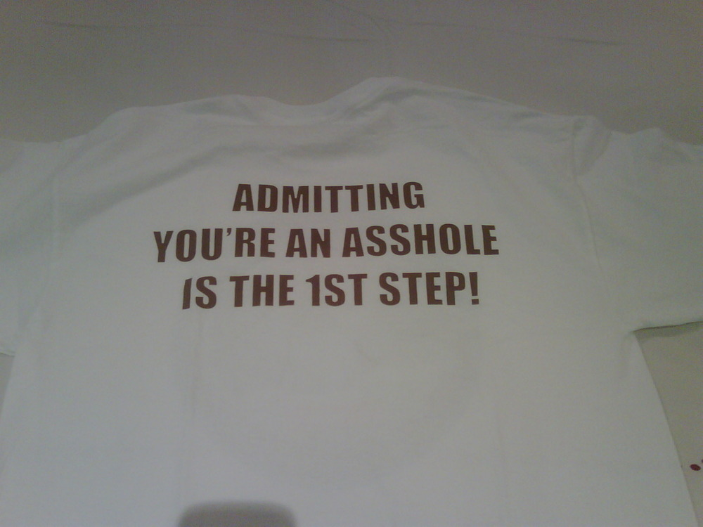 You know You have a problem when your financial advisor has a T-shirt made for You which says:
