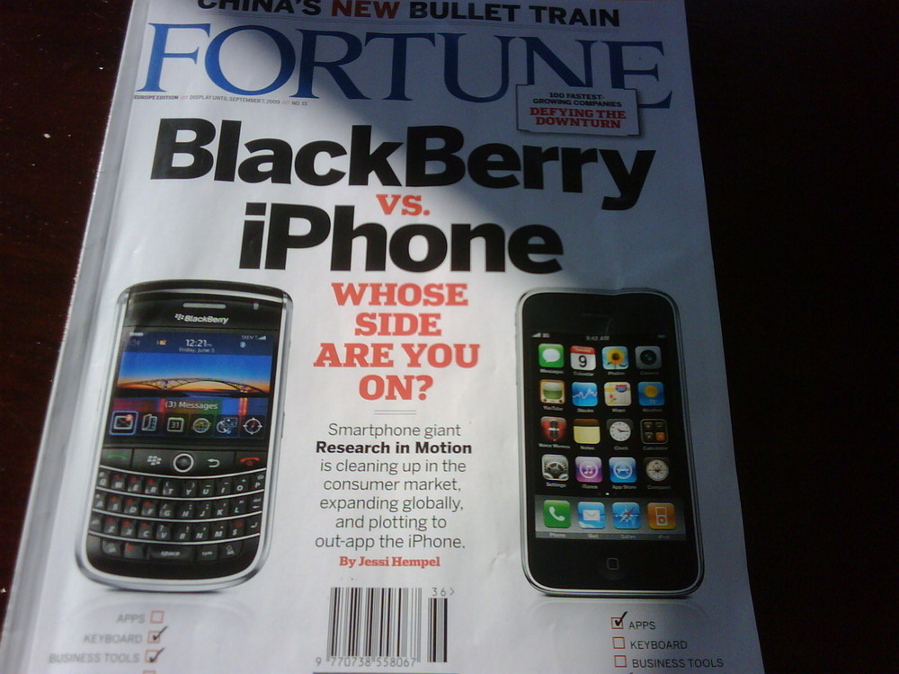 The Debate is over: Fortune – BLACKBERRY #1 , i-phone #39. Game over.