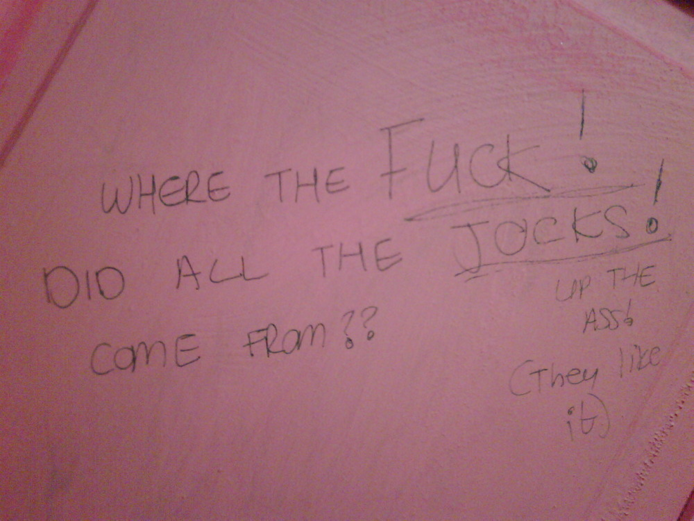 Just another graffiti scrawl behind another dodgy club toilet door!