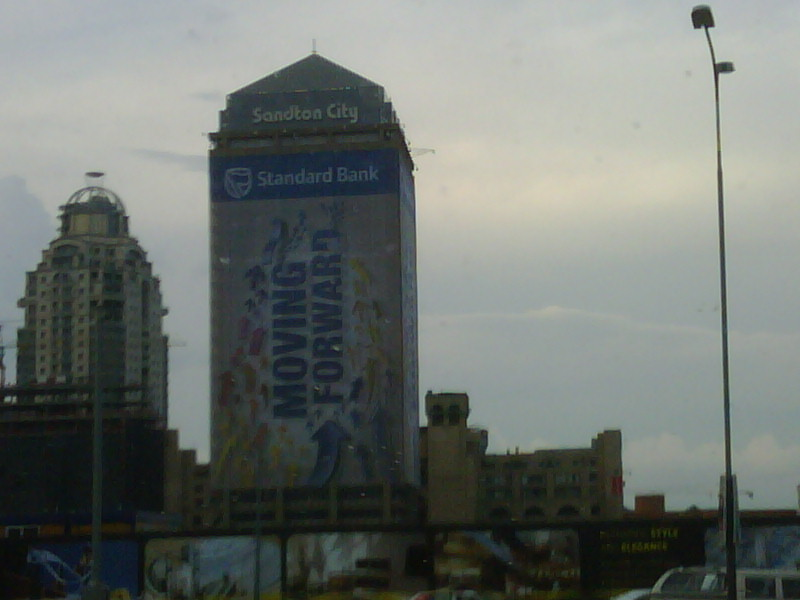 Full wrap-around ad on sandton towers. Thought the banks were in recession!