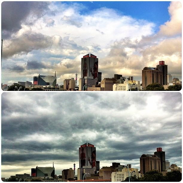 A tale of two days & one city. #iloveJozi #clouds