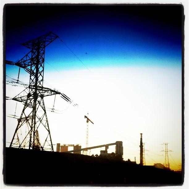 Sleeping (striking) giants. #industry #sunset