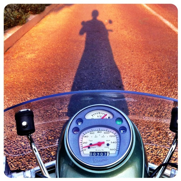 The afternoon ride. For the sheer pleasure of it. #vespa #summer #ilovejozi