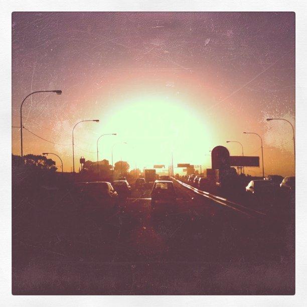Autumn sunrise over Jozi highway