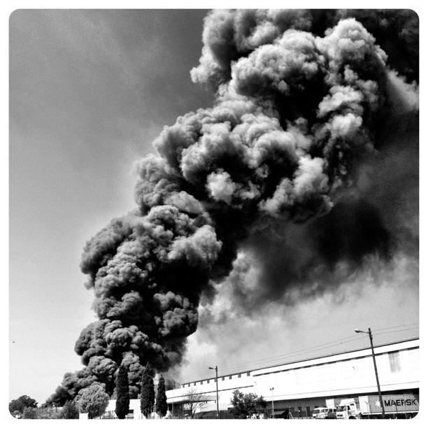 Another image of this fire. Clouds are km's up. #fire #smoke #destruction.