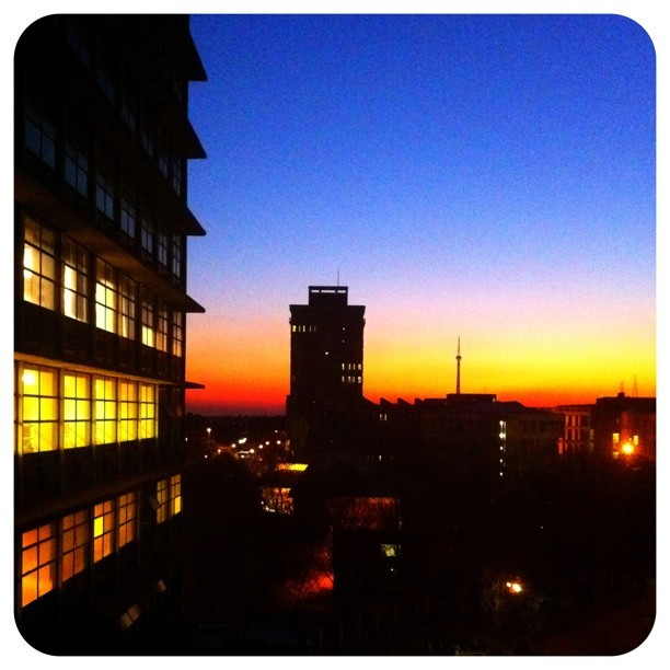 Sunset over Jozi. Looking west with the Tower in the distance. #sunset #ilovejozi #tower #africa