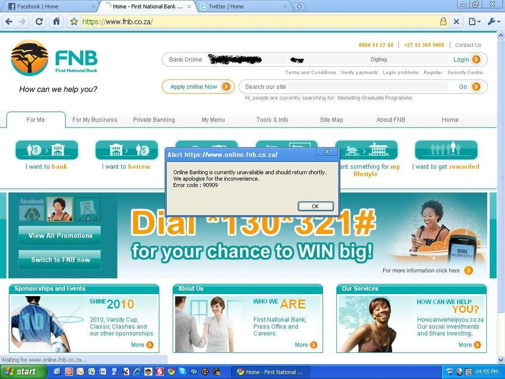 "does #FNB know what ""shortly"" means! *grumble*"